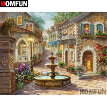 HOMFUN 3D Diamond Painting House landscape DIY Full Rhinestones Drill Cross-stitch Kits Square Round Embroidery A09126