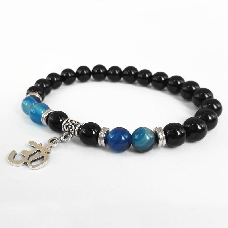 e41f70661fe7 2015 nuevo diseño con cuentas de los hombres envuelven la joyería 8mm  natural Onyx negro Piedra Natural Cuentas om Yoga pulseras partido regalo