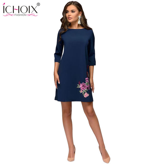 ICHOIX Autumn Winter Dress Elegant Floral Print Vintage Dresses Office Half Sleeve O-Neck Straight Mini Dress vestido mujer 2018