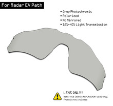 Oakley 레이더 EV 경로 용 SmartVLT 편광 선글라스 교체 용 렌즈 그레이 포토 크로 믹