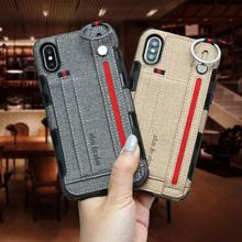 Jeans Wristband PU Leather Case For iPhone