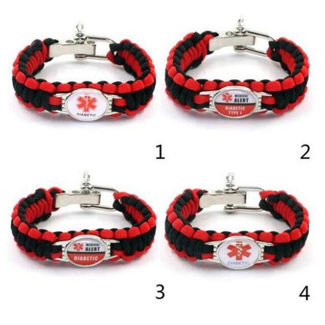 Diabetic Bracelets Outdoor Camping Rescue Braided Paracord Survival Bracelet Awareness Medical Alert For Men Women