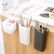 Creative Pasteable Pen Holder Desktop Storage Boxes Desk Pen Pencil Organizer Office Sundries Storage School Stationery Holders 1 pc pencil shaped pen stand holders for students plastic dest stationery holder cartoon creative pen holder