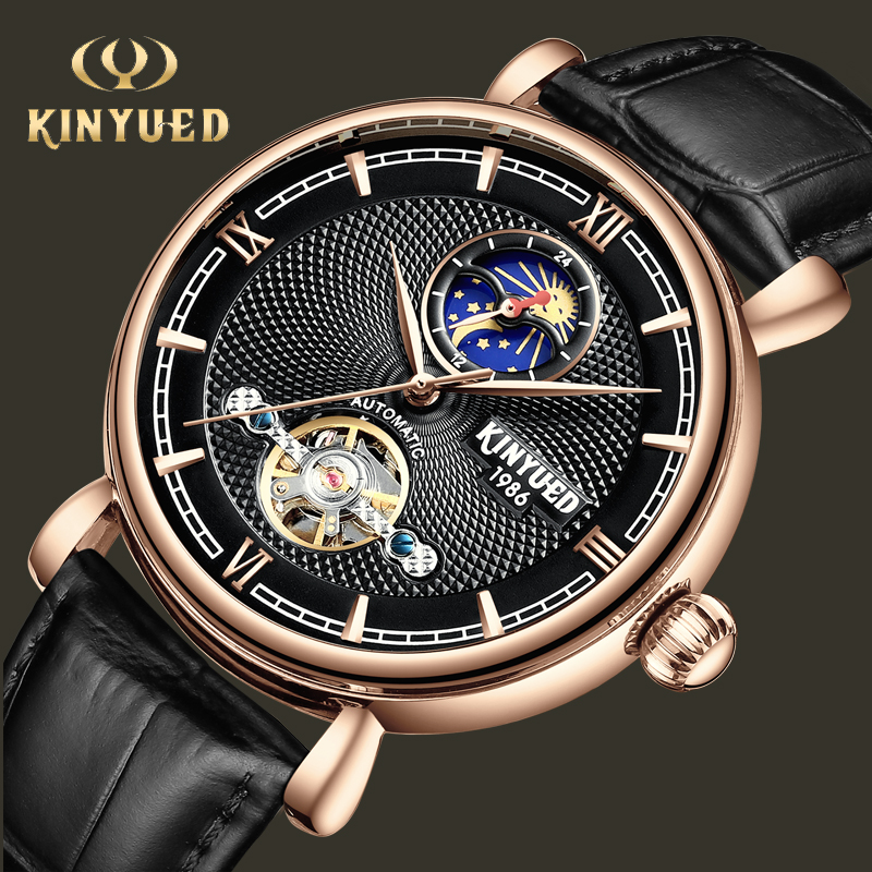 все цены на KINYUED Business Men Mechanical Watch Automatic Tourbillon Skeleton Wristwatches Leather Moon Phase Reloj Sports Montre Homme