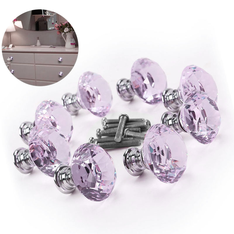 Furniture Hardware Accessories 8pcs Crystal Glass Diamond Handles Drawer Wardrobe Kitchen Cabinets Cupboard Door Pull Knobs 30mm furniture drawer handles wardrobe door handle and knobs cabinet kitchen hardware pull gold silver long hole spacing c c 96 224mm