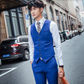 Blue men vest haute couture wedding tuxedos vest good quality gentleman groom best man prom feast dinner dress vest