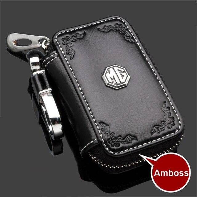 Black Brown Color Embossed Car Leather Car Key Chain Key Case Key Bag Key Holder For MG6 MG7 MG3 MG5