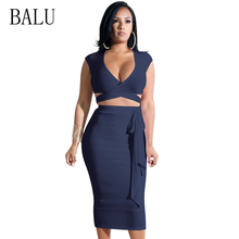 цены BALU Women Two Piece Dress Set Summer Sexy Deep V Neck Sleeveless Bandage Bodycon Dress Elegant Club Party Midi Dresses Vestidos