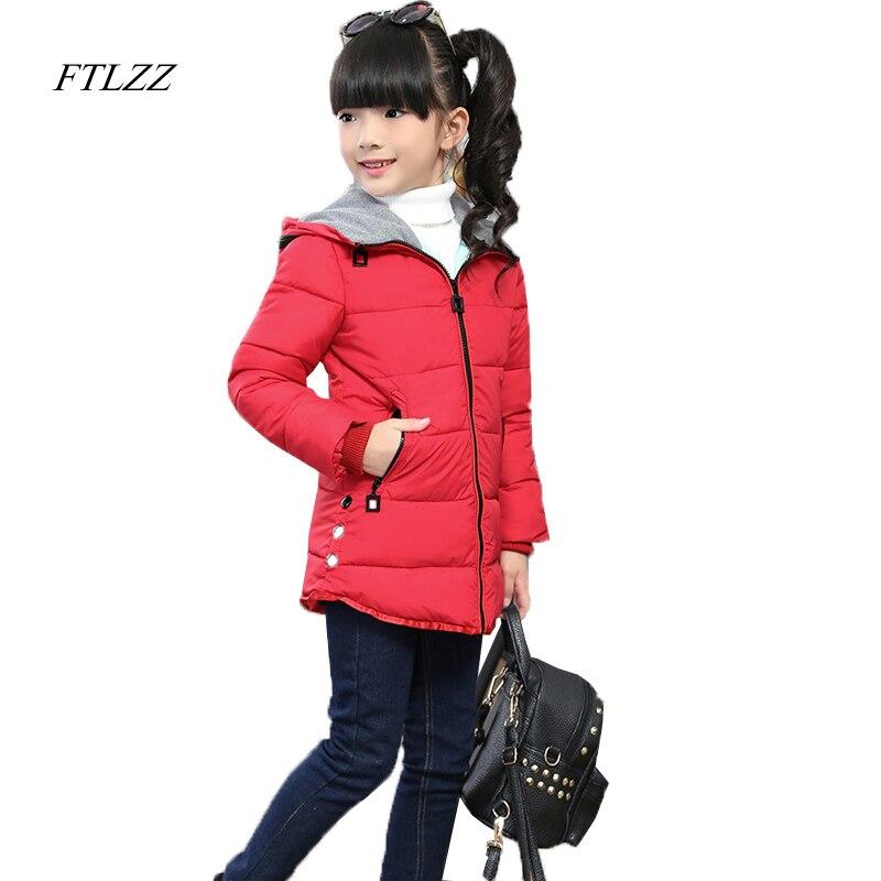 0122e67f3a4 Ftlzz девушка зима keepwarm утолщение с капюшоном перо хлопок Новинка 2017  года  стильное платье повседневные