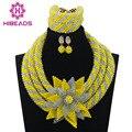 Amarillo Beads Nigerianos Set Mix Lila Africano Inspirado Joyería Grandes WD700 Blossom Flor Broche Colgante Collar Fijó El Envío Libre