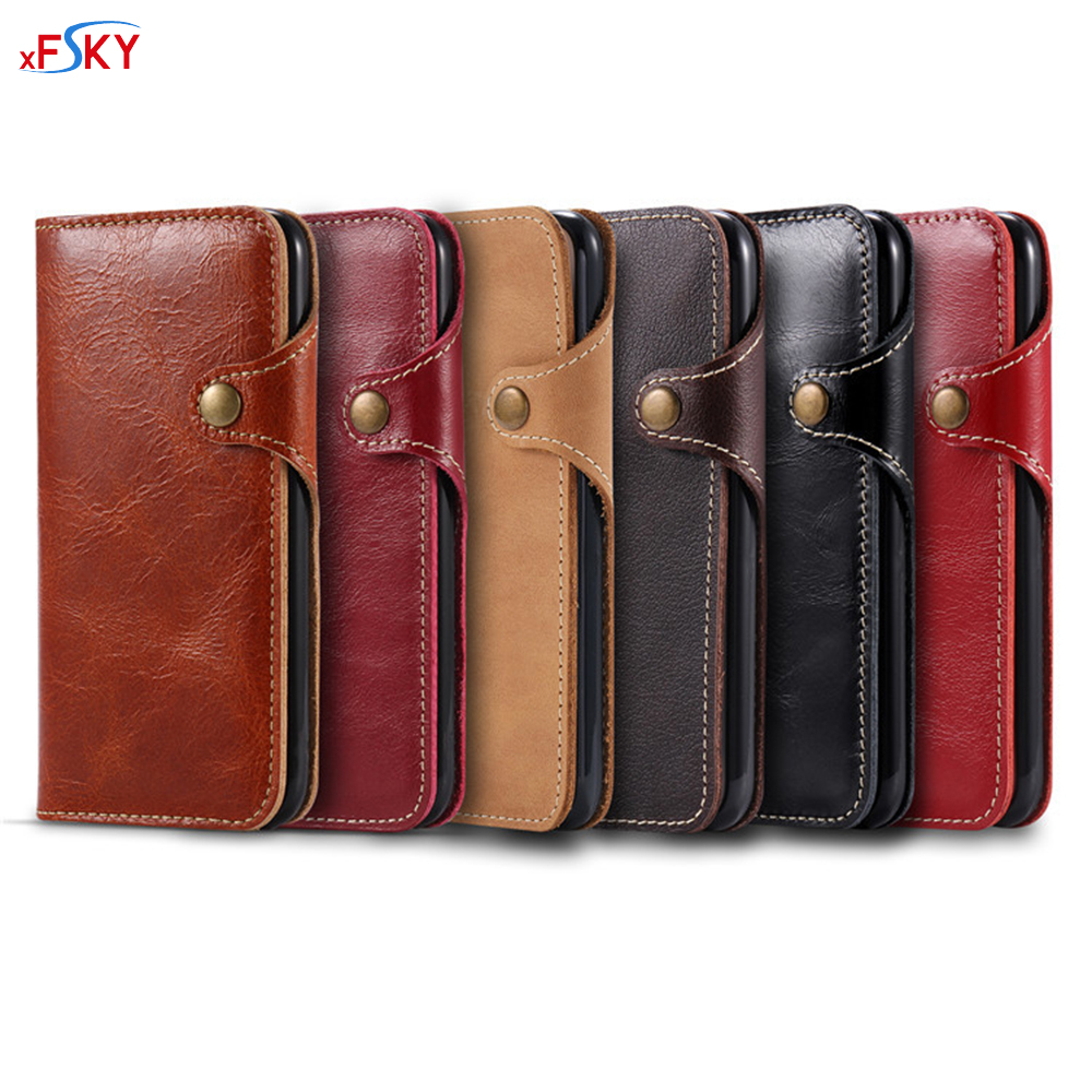 bilder für XFSKY Flip Fall Für iphone 6 6 s 7 plus Mode Luxus echtes Leder Handy Tasche Retro Fall Mit Magnetische Schnalle