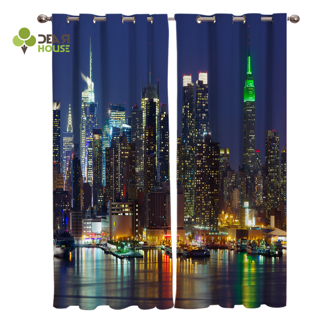 Dear House Curtains Urban Night Landscape Business District Waterfront Skyscraper Window Living Room Decor image