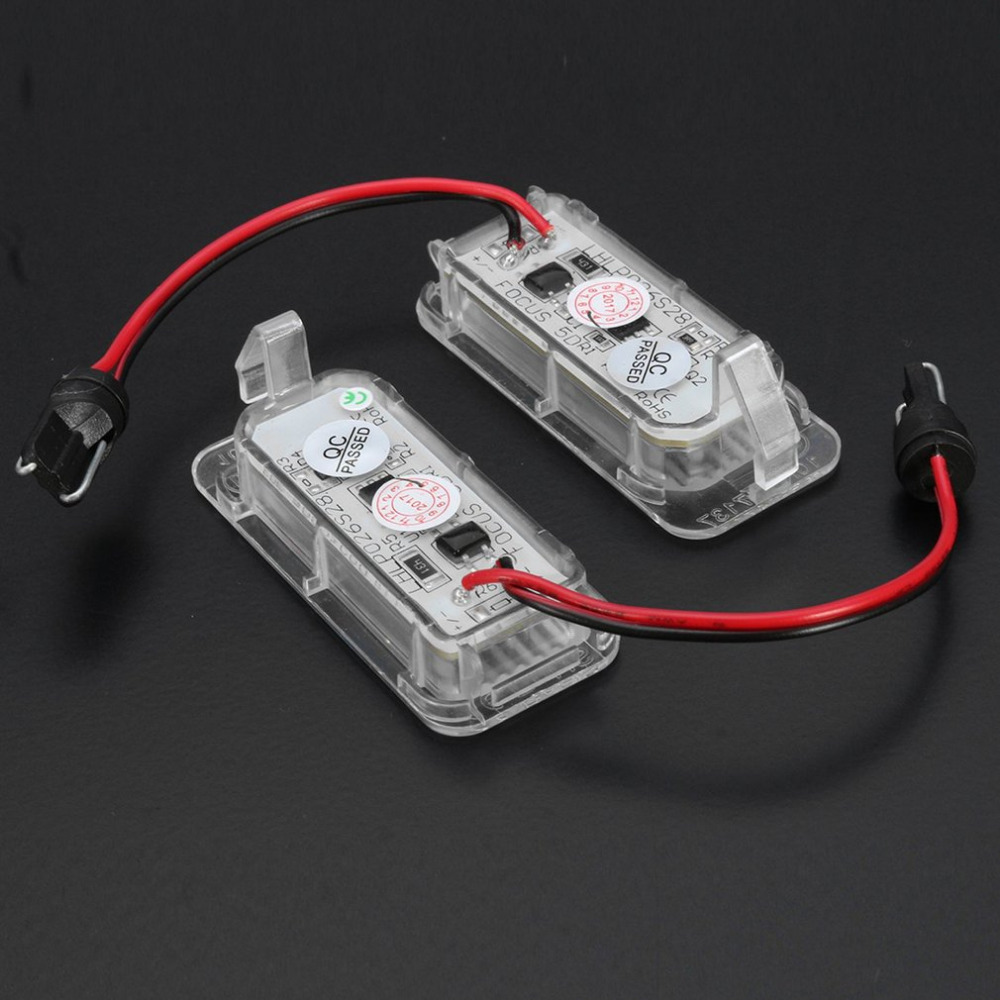 2 Pcs LED Rear Number License Plate Light Number Plate Lamp Bright White For Ford For Fiesta For Focus For Kuga For Mondeo 2 pcs pair inside tail lamp rear light inner for ford mondeo fusion 2011 2012