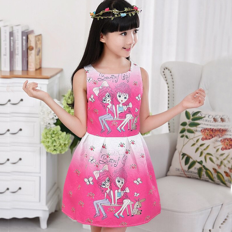 Girls Dress Summer Dresses Kids Vestido Jurken Girl Children Vestidos Princess Dress Cartoon Printing Sleeveless Onepiece 2016 original projector bulb with housing sp lamp 055 for infocus in5502 in5504 in5532 in5533 in5534 in5535 oem