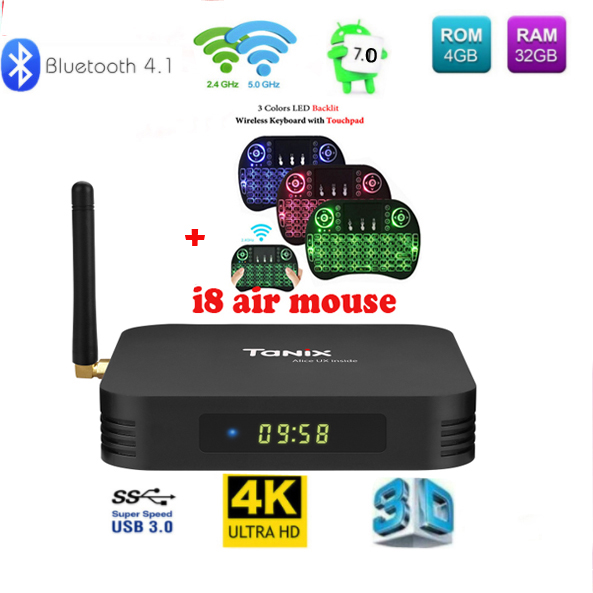 Tanix TX6 טלוויזיה תיבת Allwinner H6 4 GB DDR3 32 GB EMMC 2.4 GHz 5 GHz WiFi BT4.1 תמיכה 4 K H.265 Bluetooth 4.0 WIFI אנדרואיד 7.0 טלוויזיה תיבה