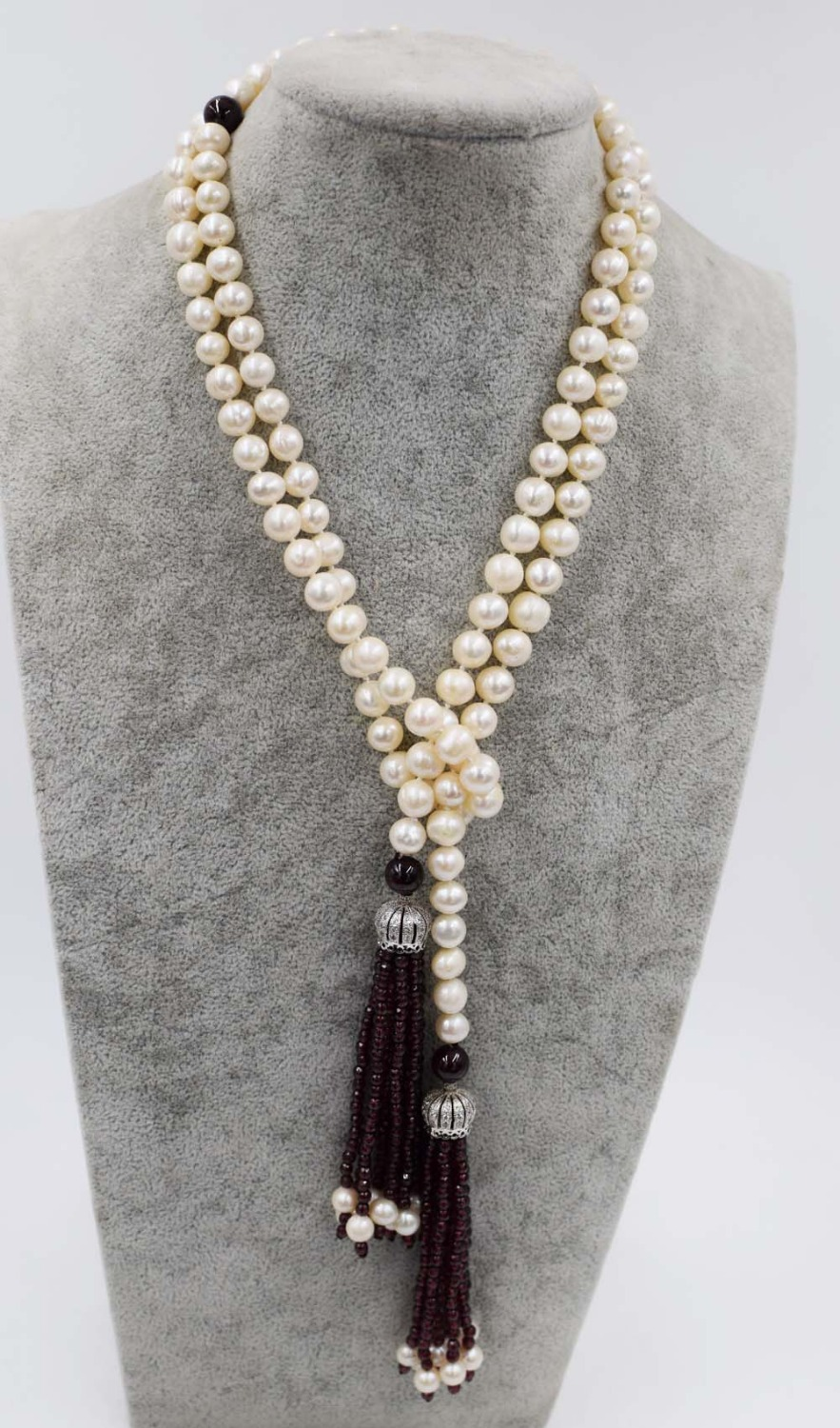 все цены на freshwater pearl white near round and red garnet 3mm hook pendant necklace 55inch FPPJ wholesale beads nature онлайн