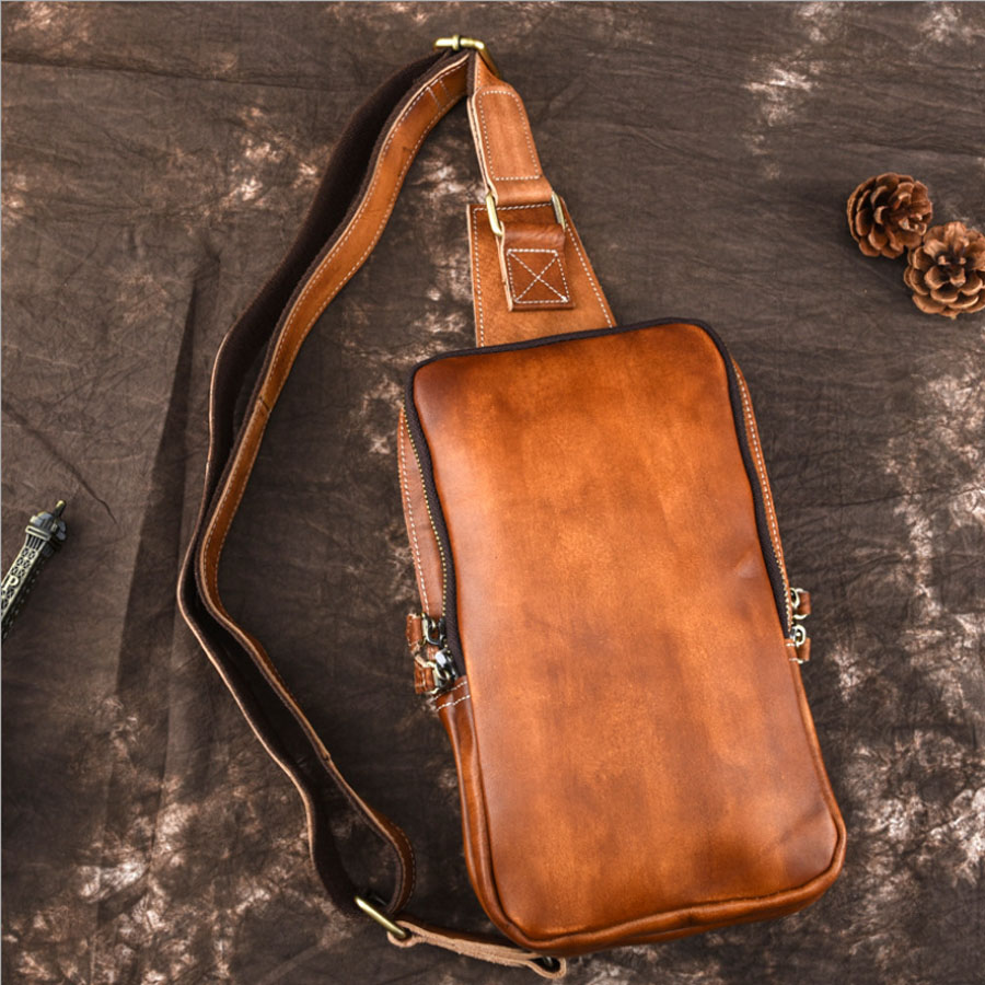 New Vintage Cowhide Men Single Shoulder Messenger Bag Travel Casual Crossbody Bags Male Genuine Tanned Leather Sling Chest Bag augur 2018 men chest bag pack functional canvas messenger bags small chest sling bag for male travel vintage crossbody bag
