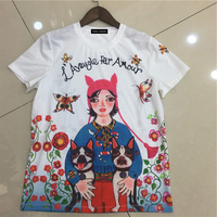 2018 Women S Round Collar Short Sleeved New Style Character Dog Pattern Printing Silk Cotton No