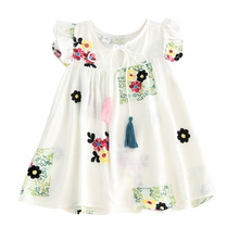 Children 2018 Summer Girls Art embroidery Flower dress Baby Flying sleeve Childrens