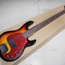 5-строка Табак Sunburst электрическая бас-гитара с Красный панцирь черепахи накладку, гриф из красного дерева, предложение по индивидуальному заказу
