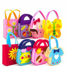 Non-Woven Fabric DIY Handbag Children Craft Toy Mini Bag Non-woven Cloth Colorful Handmade Bag Cartoon Animal Children Handbags(China)