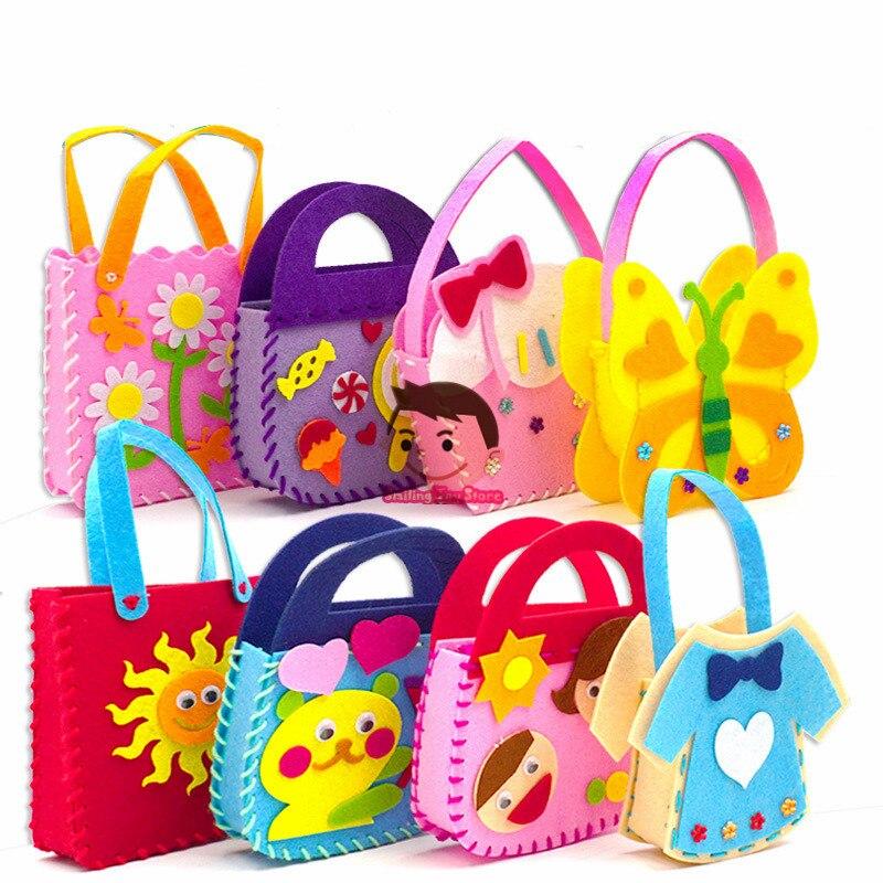Non-tissé tissu bricolage sac à main enfants artisanat jouet Mini sac vêtement en tissu Non tissé coloré à la main sac dessin animé Animal enfants sacs à main