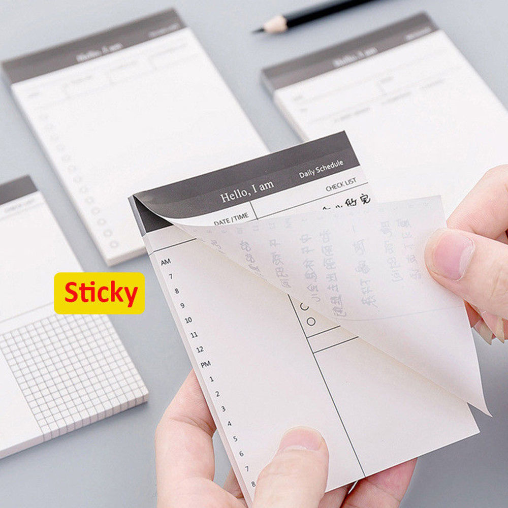 1set/50 Pages Daily Planner Grid Memo Pad Message Sticky Notes Self Adhesive Paper Schedule Message Notes Scratch Pad