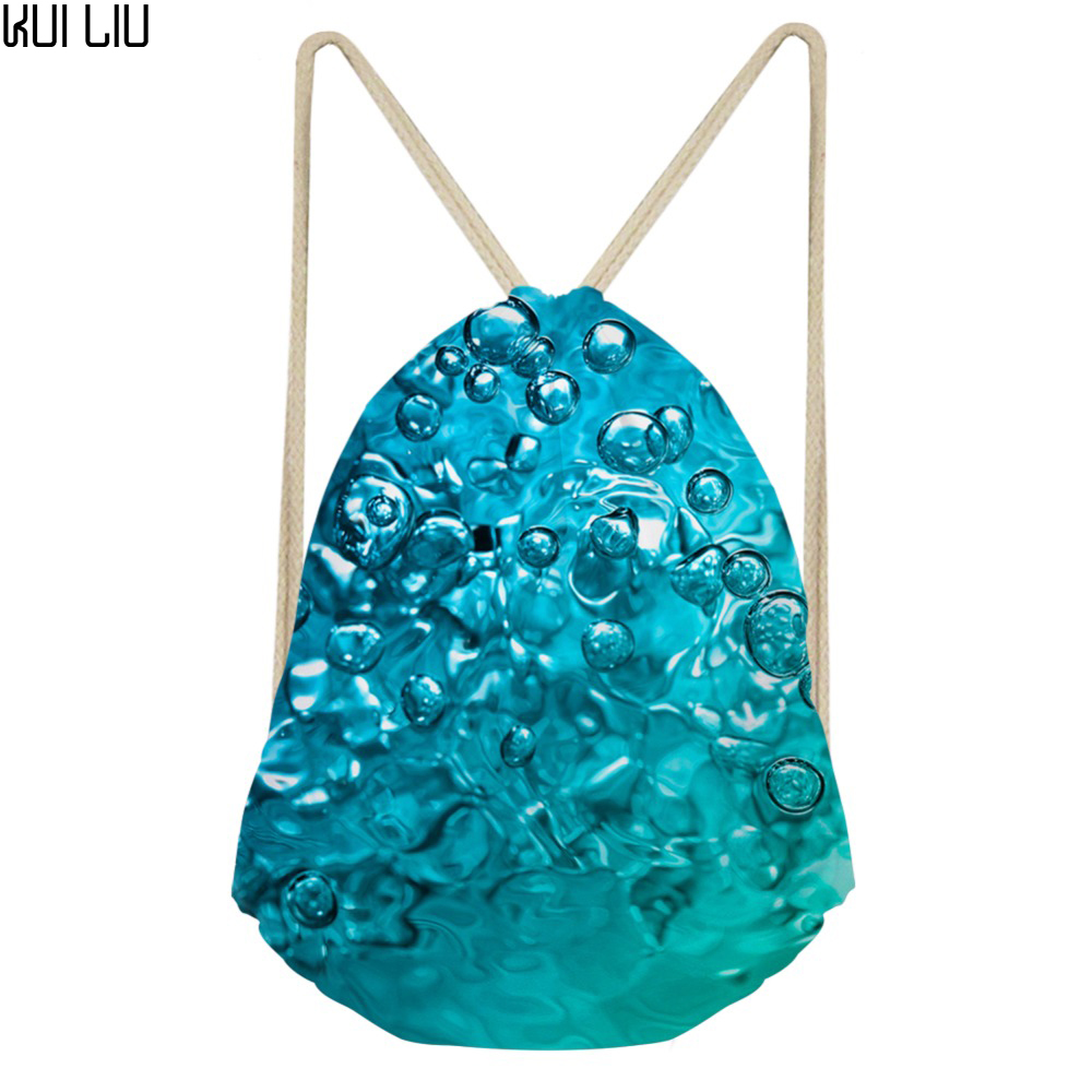 Customized Image Drawstring Bag Women's Water Drops Green Nature Print Daypck Females Small Travel Package Kids Packing Bags