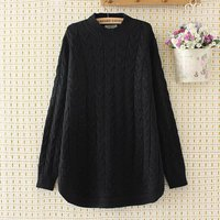 Plus Size Criss Cross Winter Women Pullovers Black 2017 Turtleneck Knitted Casual Ladies Oversize Sweater Wool