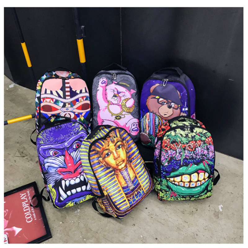 Street Preppy Graffiti Laptop Backpack Men School Bag Teenager Boys Large Cartoon Printing Shoulder Backpacks Travel Mochila