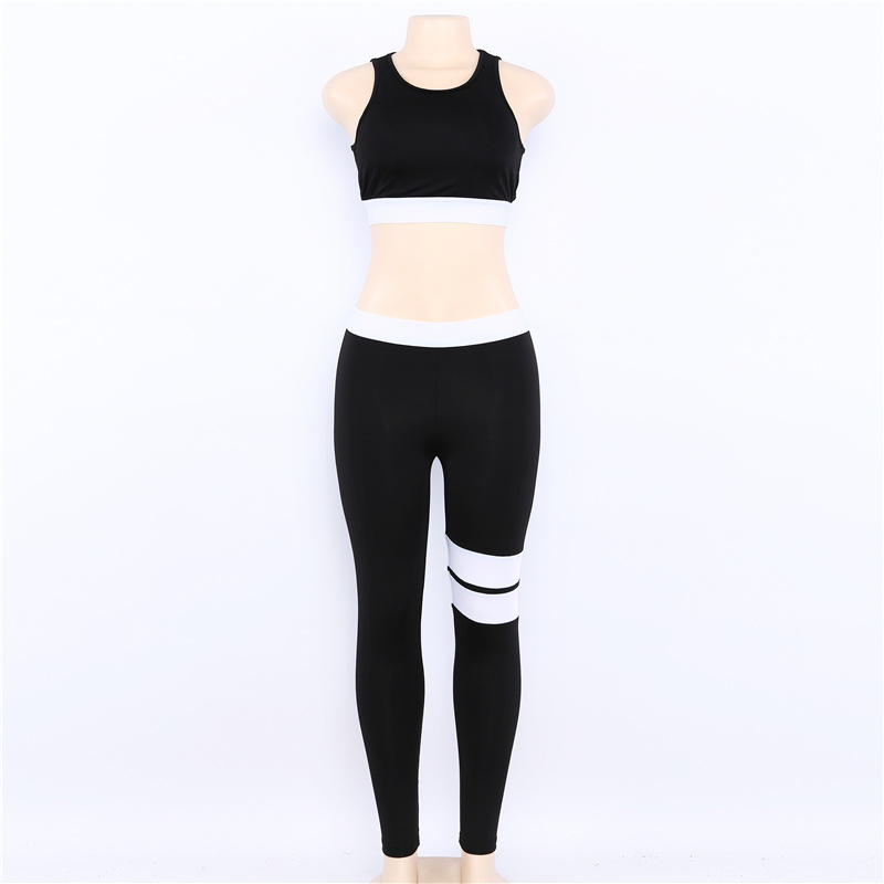 Women Tracksuit Solid Yoga Set Patchwork Running Fitness Jogging T-shirt Leggings Sports Suit Gym Sportswear Workout Clothes S-L 23