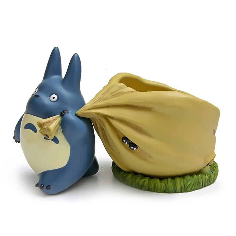 Studio Ghibli My Neighbor Totoro Resin Action Figure Cute Blue Totoro Flower Pot Collection Model Toy for Garden Home Decor