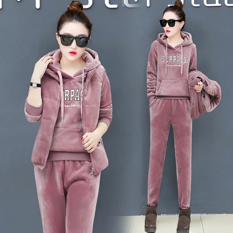 YICIYA pink 3 piece set women winter 2 pcs pant suits and top Vest plus size velvet thick warm outfits tracksuits co ord set