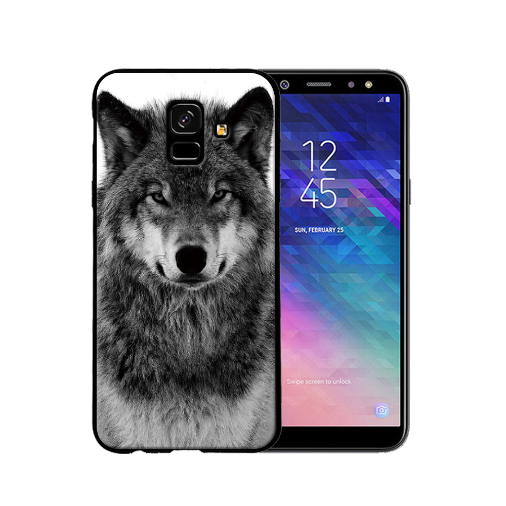 For Samsung A6 case Fierce tiger lion wolf black soft silicone For Samsung Galaxy A6Plus Mobile Phone Cases