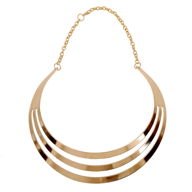 2015 Gold plated metal women necklace fancy chokers torques hollowed-out short clavicle costume jewelry