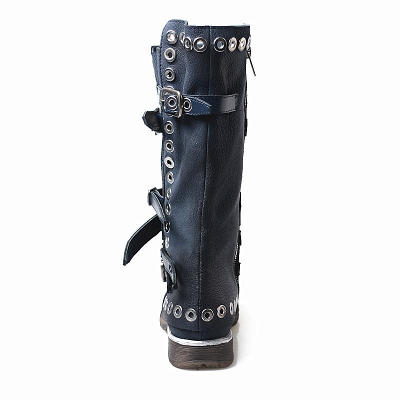 Véritable Femmes Par Plus Navy In Rivet Martin Short Neige Moto Mulheres navy Blue Hiver Cuir Chaussures En Haute Leather Automne Bottes Chaud Appartements Mabaiwan n8dwfx4qOf