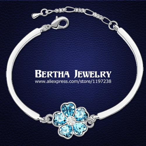 Lujo pulsera del encanto Pulseras de la señora con Cristal Swarovski Elements Cristal Bijoux amistad Fine joyería de calidad superior