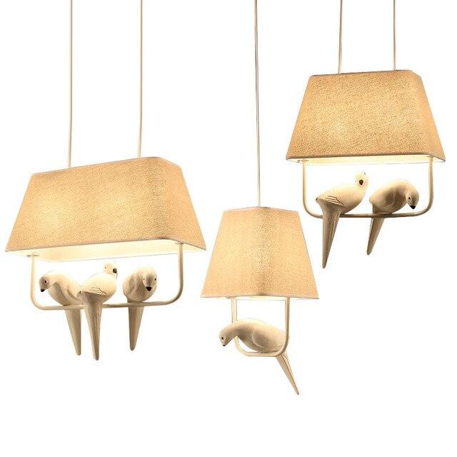 Moderni kreativni Cloth art ptica LED luster restoran, den ukras, - Unutarnja rasvjeta - Foto 2