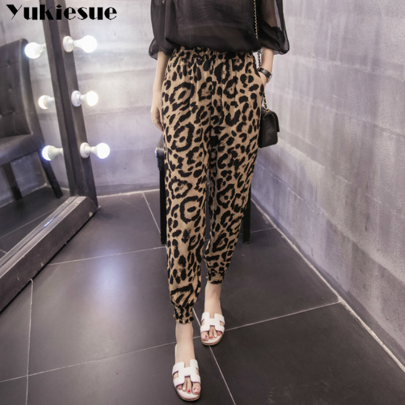 Summer Holiday Seaside women's   pants     capris   with high waist Leopard harem   pants   for women trousers woman   pants   female Plus size