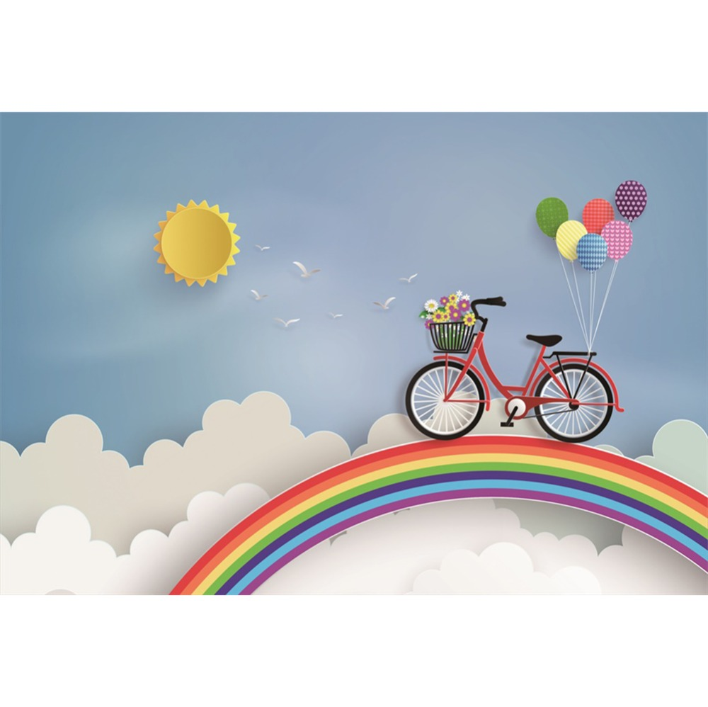 06d80967fe Laeacco Cartoon Rainbow Sky Cloud Bicycle Balloons Baby Photography  Background Customized Photographic Backdrop For Photo Studio-in Background  from Consumer ...