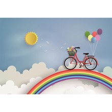 Laeacco Cartoon Rainbow Sky Cloud Bicycle Balloons Baby Photography Background Customized Photographic Backdrop For Photo Studio
