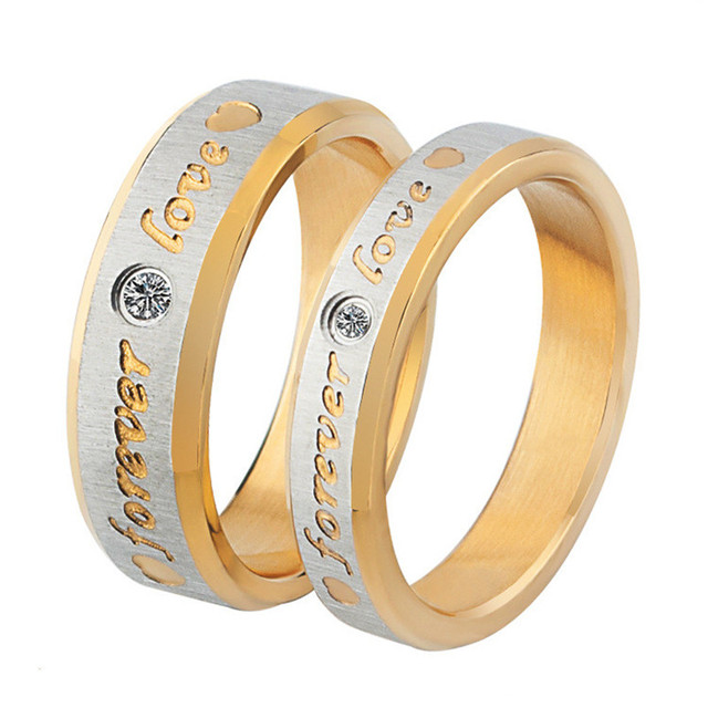 fivetwoo titanium steel forever love wedding bands lovers rings price for one ring cr03 - Wedding Ring Price