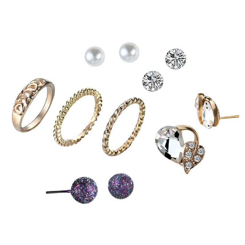 Elegant Jewelry Sets for Women Classic Crystal Crown Ear Stud Earrings & Knuckle Rings Sets Gift