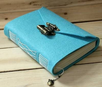 Passion Handmade wool felt notepad stationery tsmip vintage heart buckle password lock diary photo album