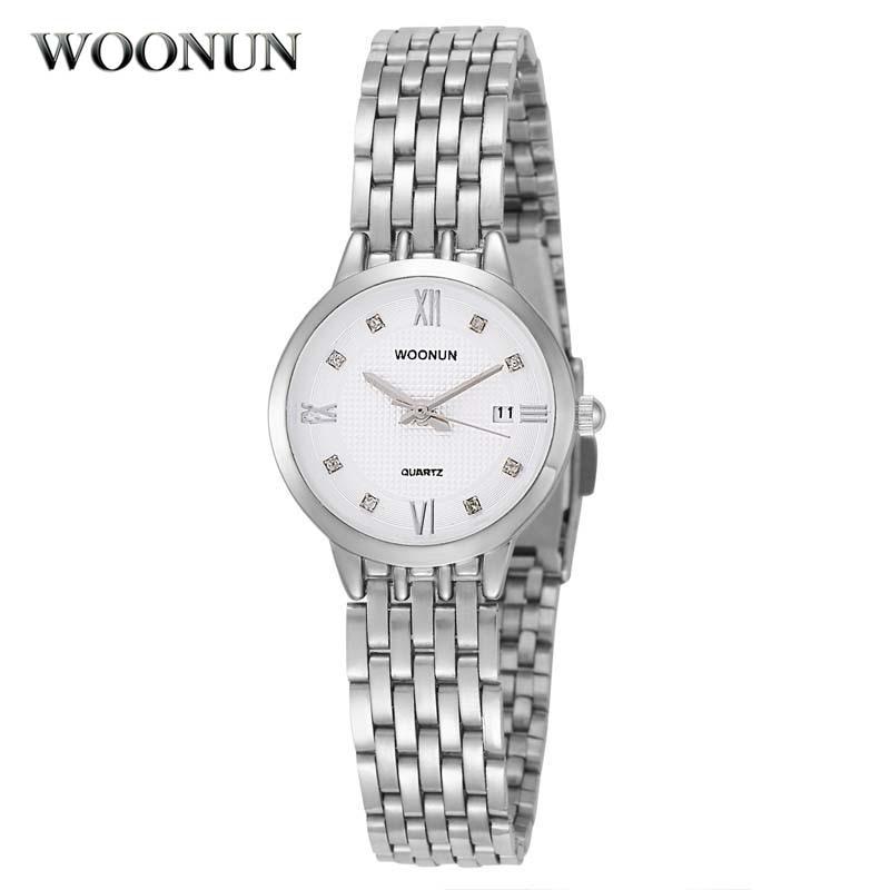 Populära eleganta kvinnors armbandsur Woonun Brand Logo Full Steel Rhinestone Quartz Klockor Klockor Fashion Ladies Armbandsur