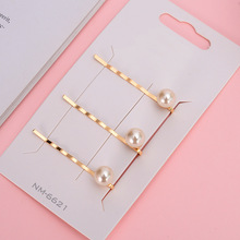 Fashion charm handmade gold 1PC pearl imitation hairpin snap hair styling accessories female girl