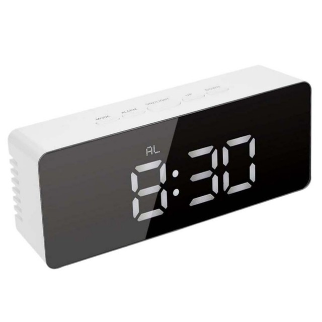 Hot LED Electronic Digital Alarm Clock Snooze Function Mirror Clock Indoor Thermometer Desktop Table Clocks