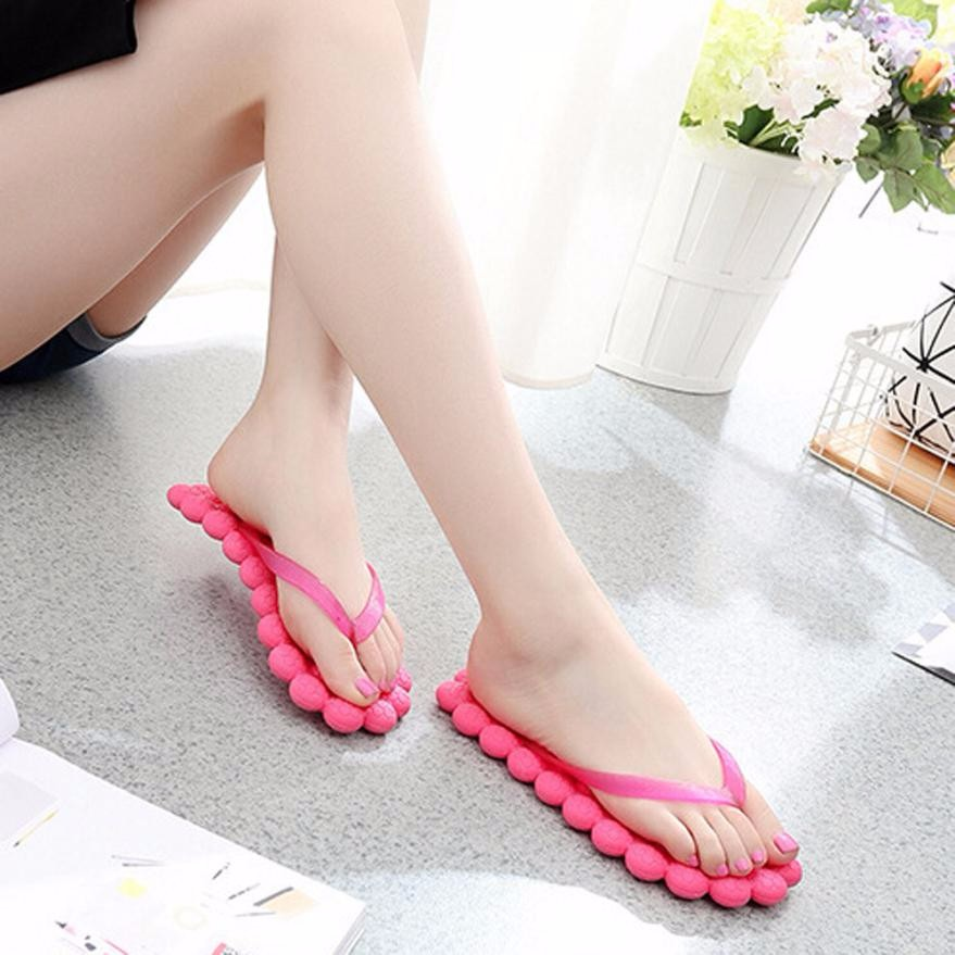 2200e7a17e39cd 2018 Hot Women s Summer Fashion Casual Flip flops Slippers Traveling  Massage Beach Slippers Female Solid Flip Flop zapatos mujer-in Slippers  from Shoes on ...
