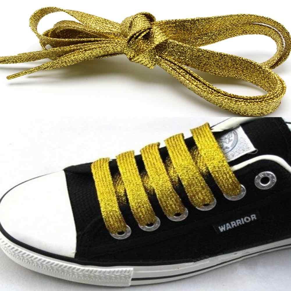 สีสันผู้หญิง Shoelaces รองเท้าผ้าใบ Metallic Glitter Shiny Gold เชือกผูกรองเท้าแบนรองเท้า Laces กีฬารองเท้า Lacing