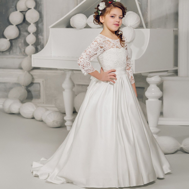 Pretty White Ivory Lace Ball Gown Long Sleeves Floor Length For Little S First Communion Dress